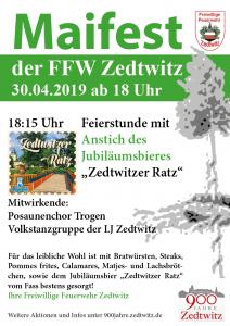 """Maifest am 30.04.2019 ab 18 Uhr mit Festbieranstich """"Zedtwitzer Ratz"""""""